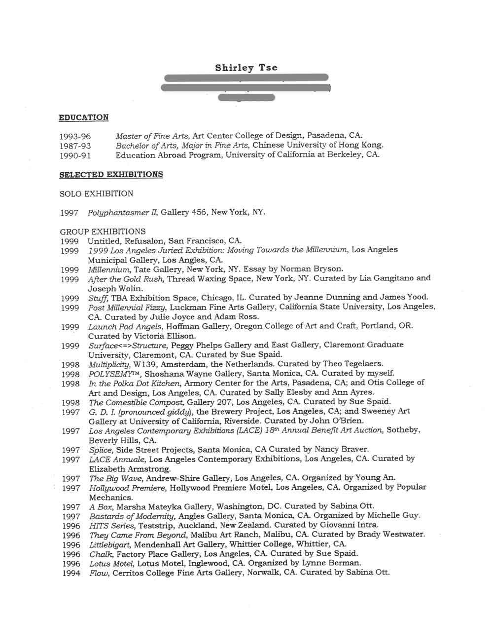 Shirley Tse's Resume, pg 1